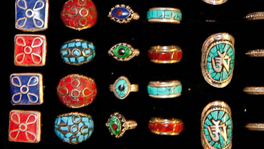 Rings with natural stones carvings