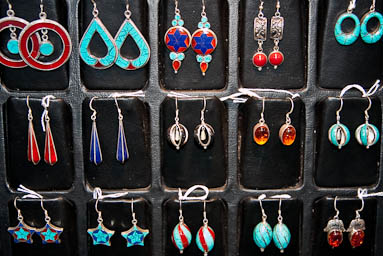 Silver earrings with natural stones