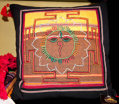 Embroidered cushions from Tibet and Nepal